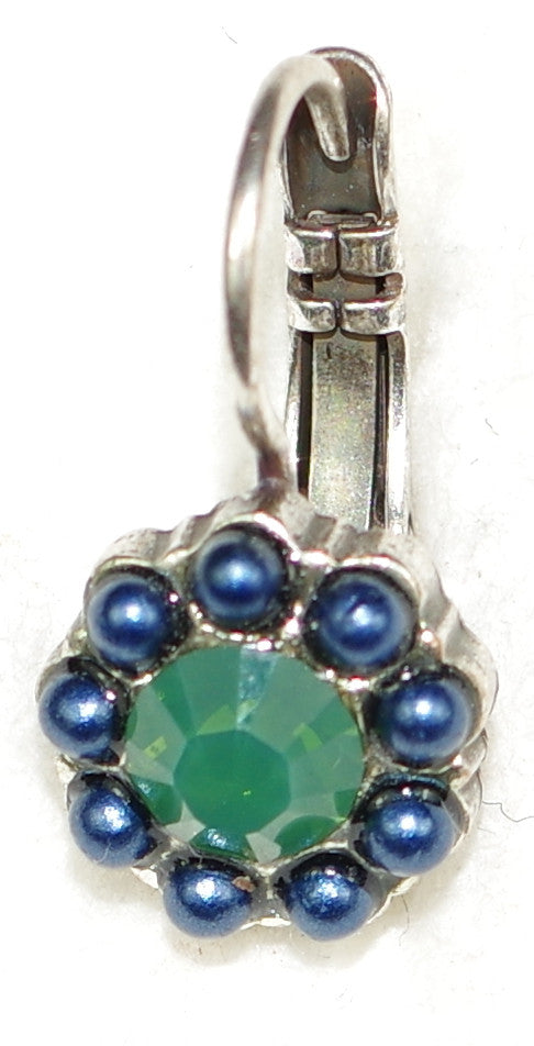 "MARIANA EARRINGS EMERALD CITY: green, blue stones in 3/8"" silver setting, lever back"