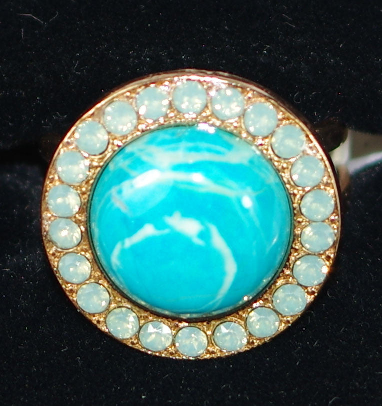 "MARIANA RING: blue, pacific opal stones in 3/4"" rose gold setting, adjustable size band"