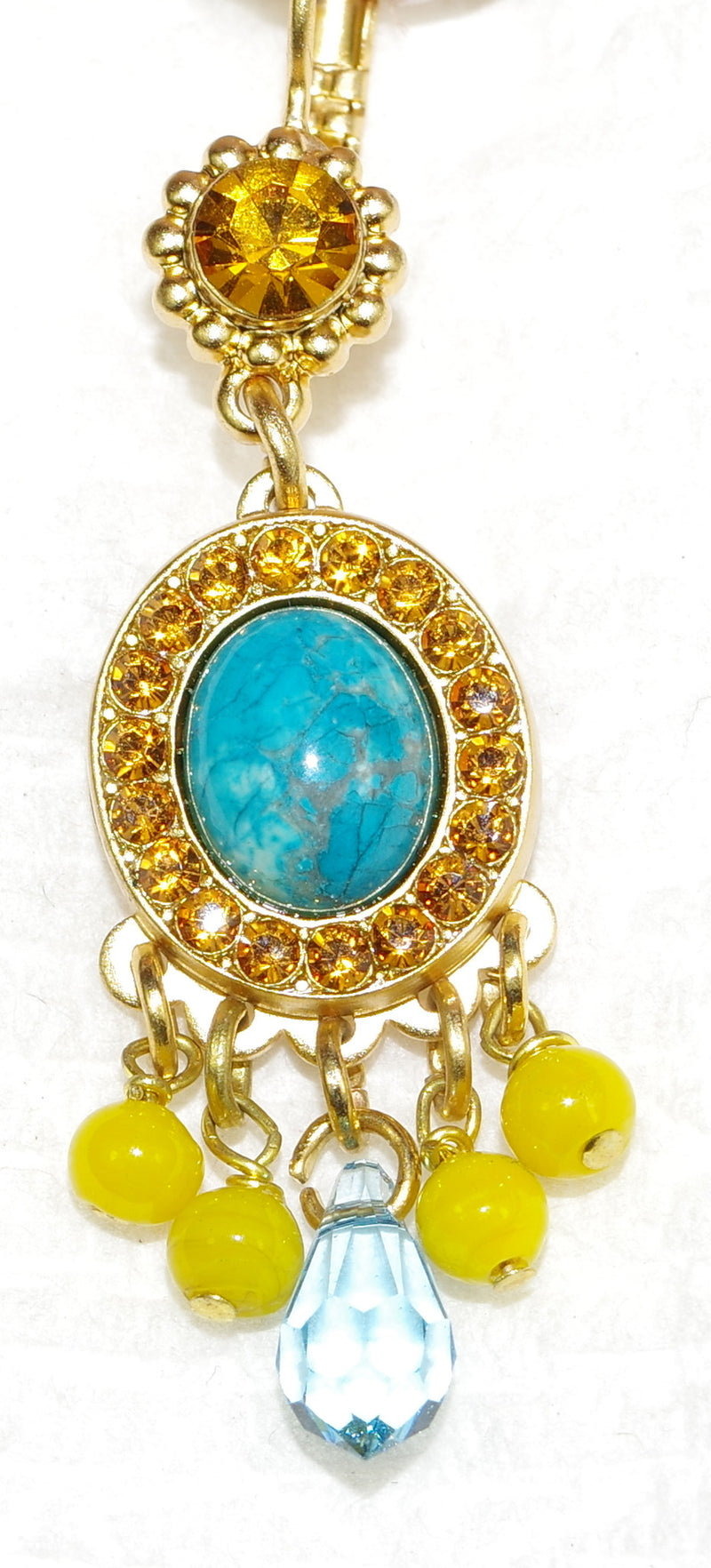 "MARIANA EARRINGS JASMINE: yellow, turq, blue, amber stones in 1.75"" yellow gold setting, lever back"