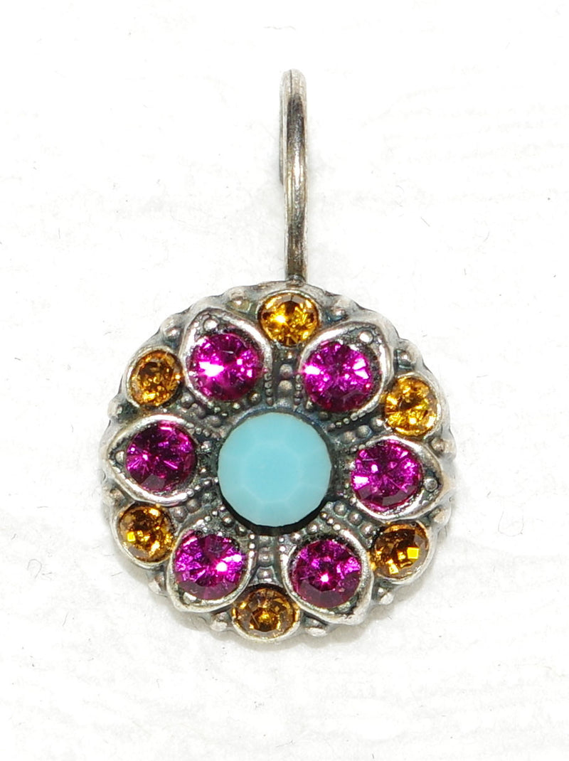 "MARIANA EARRINGS HAPPY DAYS: amber, pink, blue stones in 1/2"" silver setting, lever back"
