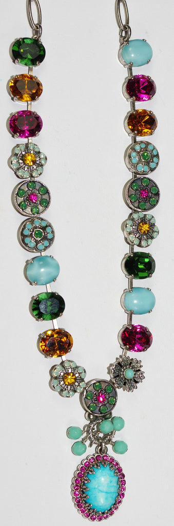"MARIANA NECKLACE HAPPY DAYS:  turq, blue, amber, pink, green stones, 1/2"" pendant in 18"" silver adjustable chain"