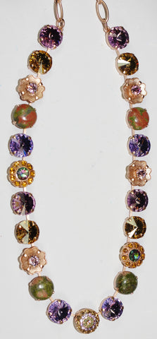 "MARIANA NECKLACE AUDREY: lavender, amber, green stones in rose gold setting, 18"" adjustable chain"