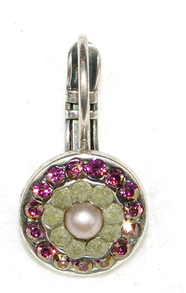 "MARIANA EARRINGS ELIZABETH: pearl, pink, grey stones in 3/8"" silver setting, lever back"