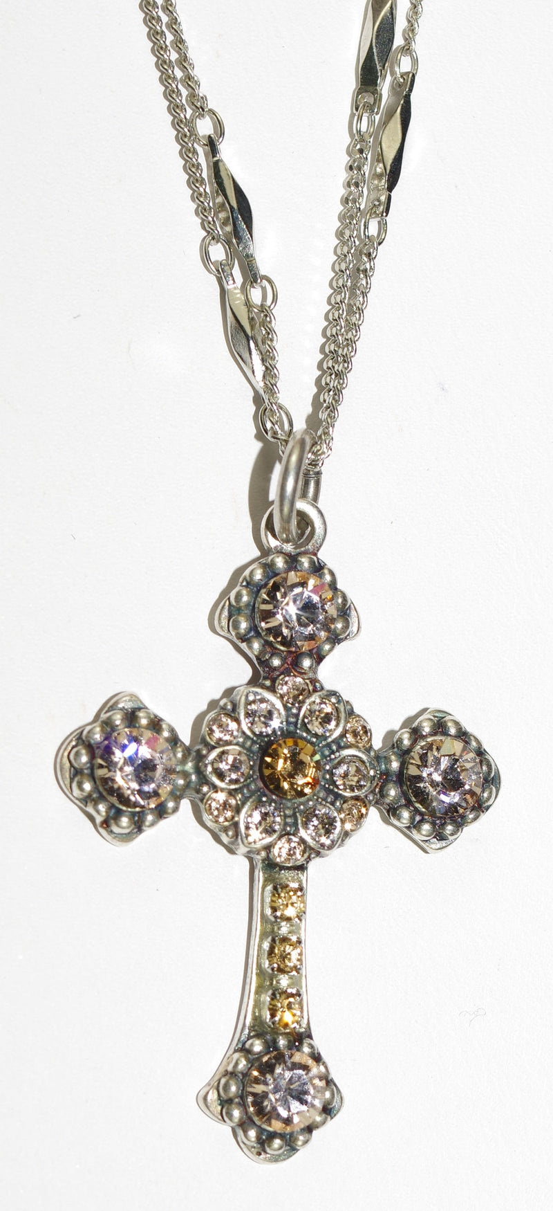 "MARIANA CROSS PENDANT JACKIE:  amber stones in silver setting, 18"" double chain"