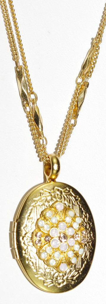 "MARIANA PENDANT LOCKET TIARA DAY: amber, pink, white stones in 1"" locket in yellow gold setting, 19"" adjustable chain"