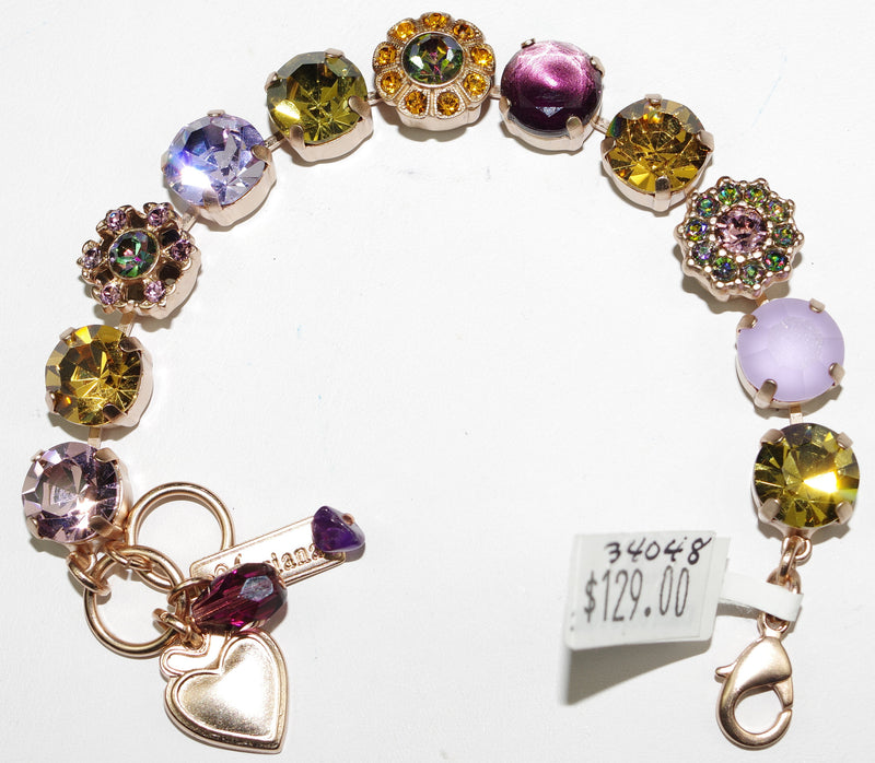 MARIANA BRACELET AUDREY: purple, amber, green stones in rose gold setting