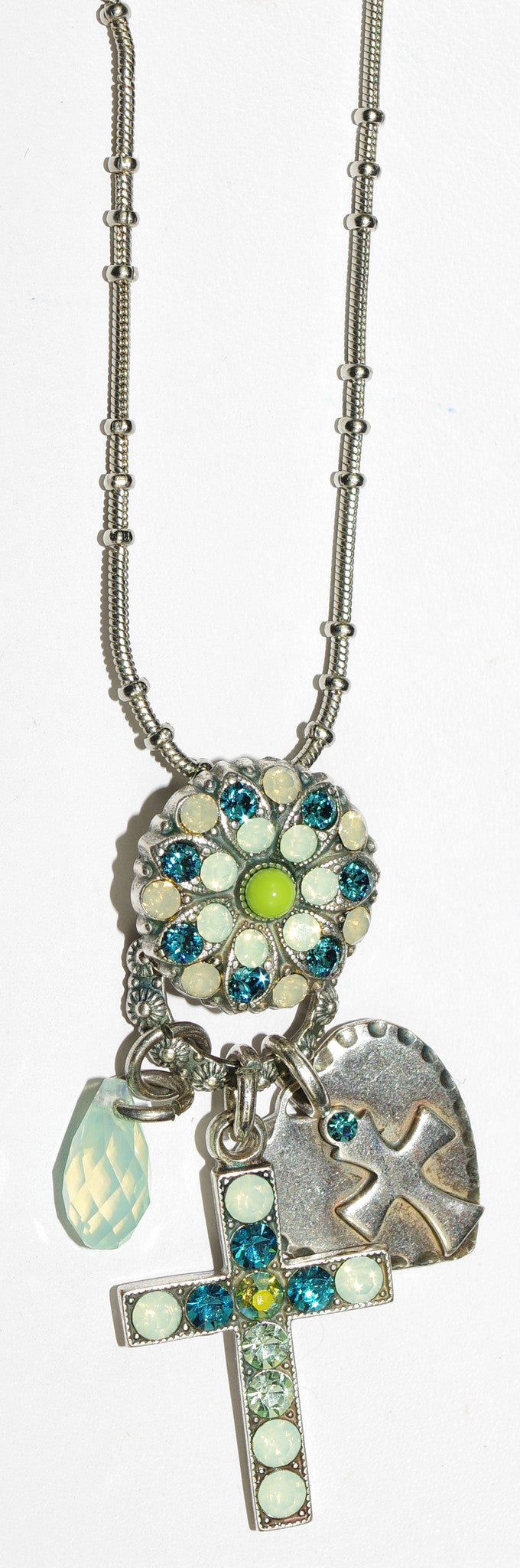 "MARIANA CROSS PENDANT GRACE: green, teal, stones in 2"" silver setting, 24"" adjustable chain"