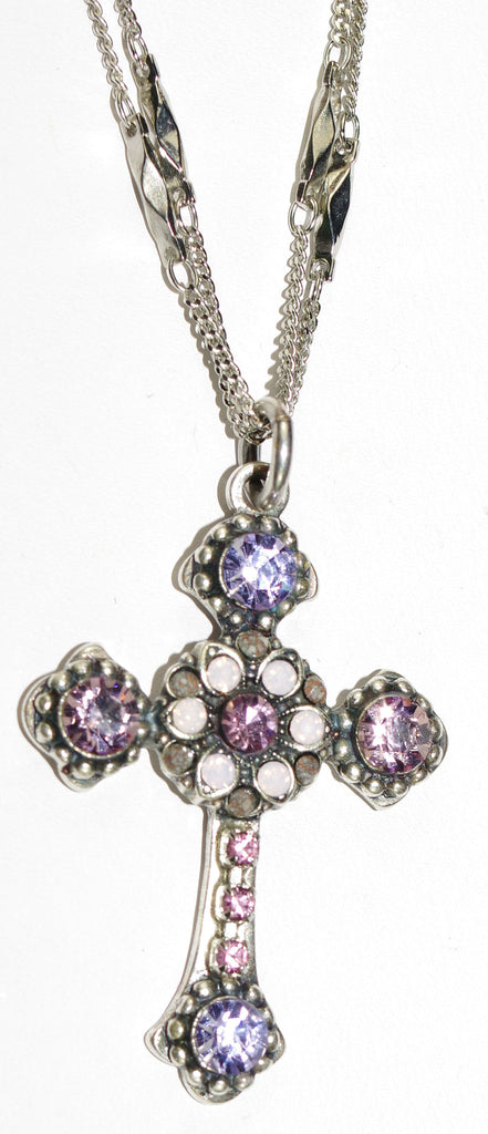"MARIANA CROSS PENDANT ELIZABETH: lavender, pink stones in silver setting, 18"" double chain"