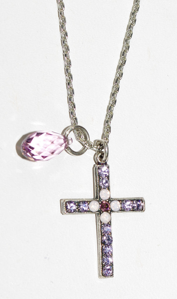 "MARIANA CROSS PENDANT ELIZABETH: pink, lavendar stones in 1"" silver setting, 18"" adjustable chain"