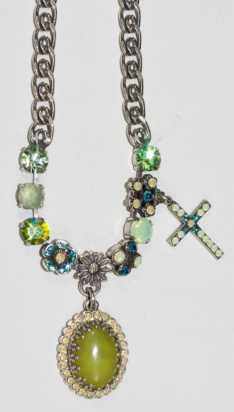 "MARIANA NECKLACE GRACE: teal, green, blue stones with cross, 1"" center pendant in silver setting, 20"" adjustable chain"