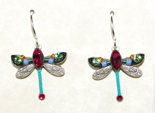 "FIREFLY EARRINGS PETITE DRAGONFLY FH: green, blue, pink stones in 1/2"" setting, french wire backs"