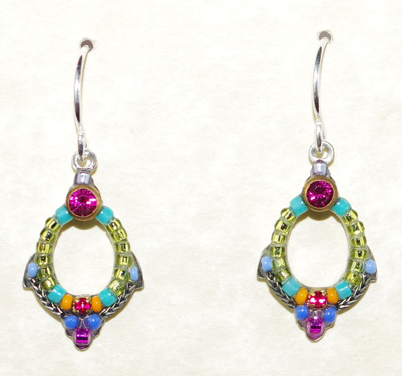 "FIREFLY EARRINGS PETITE MC: blue, fucshia, amber, purple stones in 3/4"" silver setting, wire backs"