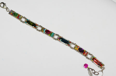 FIREFLY BRACELET BAGUETTE MULTI COLOR: multi color stones in silver setting