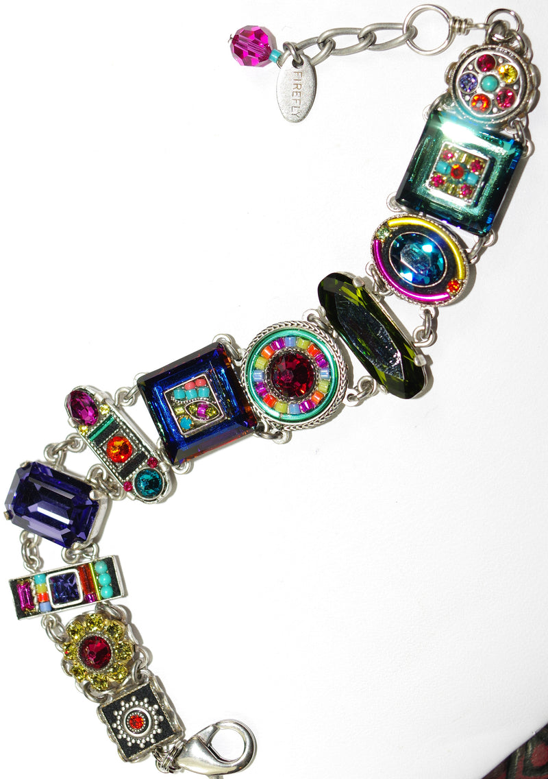 FIREFLY BRACELET LA DOLCE VITA MULTI: blue, green, fucshia, purple, red stones in silver setting