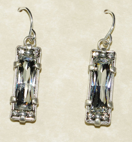 "FIREFLY EARRINGS CRYSTAL OBLONG SILVER: clear stones in 3/4"" silver setting"