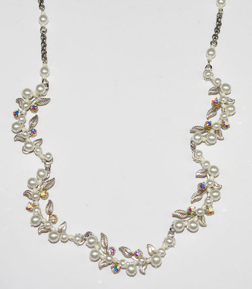 "FIREFLY NECKLACE FLORA GLASS PEARLS: pearls, crystals in  silver 18"" adjustable chain"