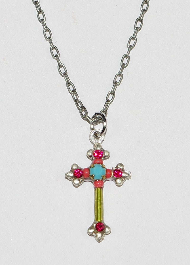 "FIREFLY NECKLACE DAINTY COLOR CROSS RUBY:  fucshia, green, blue stones in 1/2"" cross, silver 20"" adjustable chain"