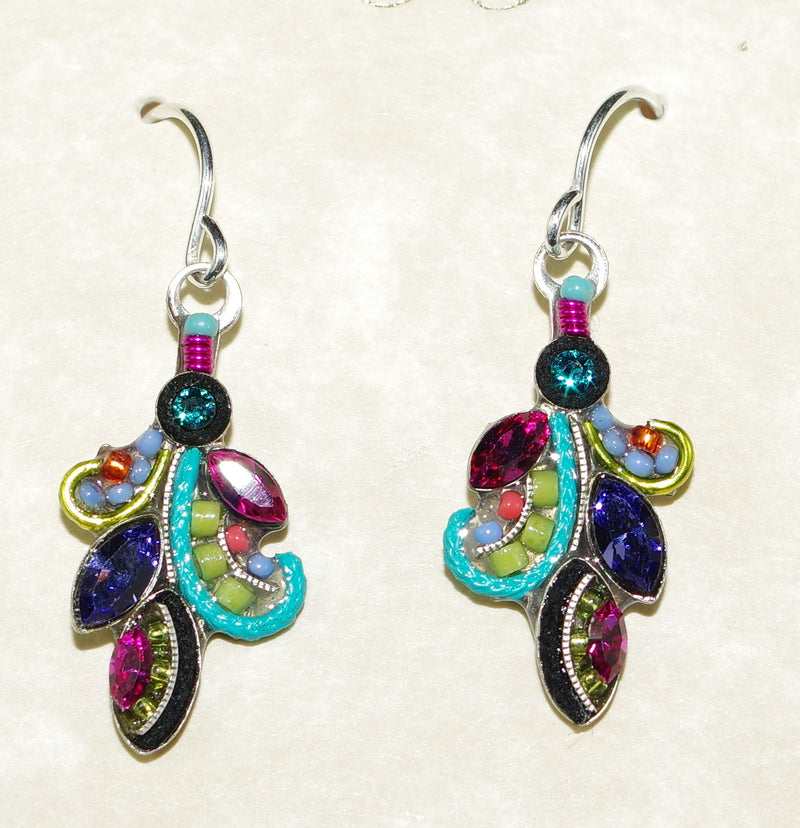 "FIREFLY EARRINGS CURLY Q MC: fucshia, purple, blue, green stones in 1"" silver setting, wire backs"