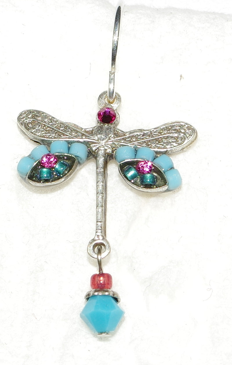 "FIREFLY EARRINGS DRAGONFLY TURQ: turq, fucshia stones in 3/4"" setting, french wire backs"