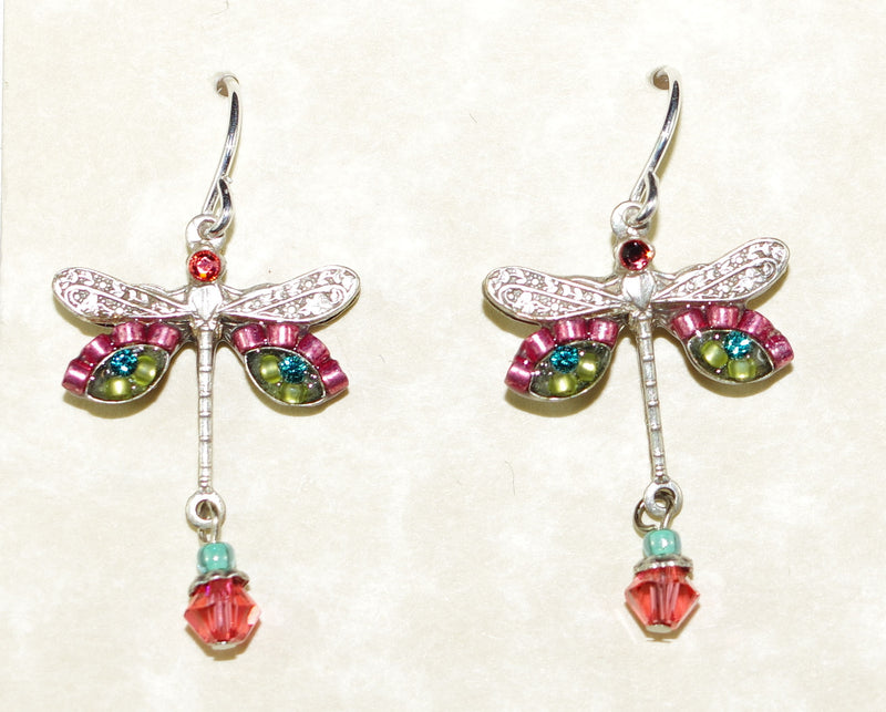 "FIREFLY EARRINGS DRAGONFLY PAD: multi color stones in 3/4"" setting, french wire backs"