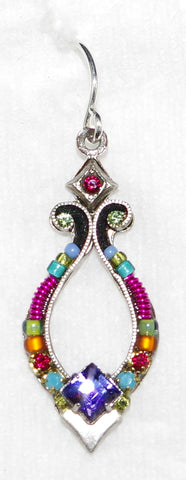 "FIREFLY EARRINGS ANGEL HARP MC: fucshia, purple, blue, green stones in 1"" silver setting, wire backs"