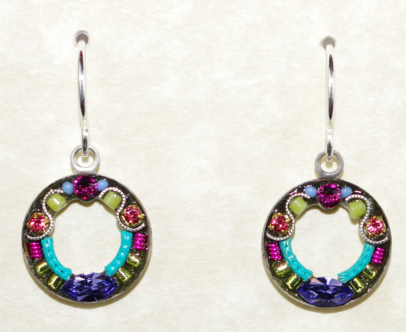 "FIREFLY EARRINGS ROUND COLORFUL MC: fucshia, purple, blue, green stones in 1/2"" silver setting, wire backs"