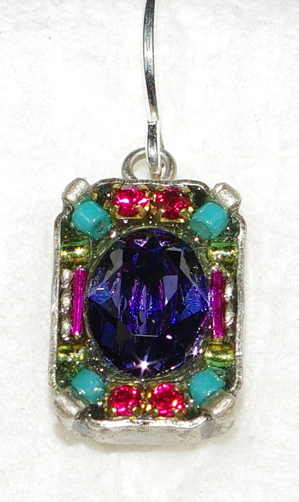"FIREFLY EARRINGS PETITE CRYSTAL MULTI: purple, fucshia, blue, green stones in 1/2"" silver setting"