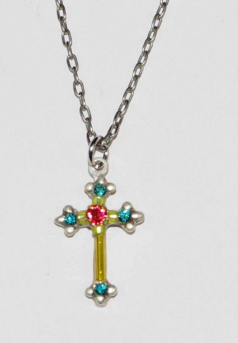 "FIREFLY NECKLACE DAINTY CROSS LIME:  green, blue, orange stones in 1/2"" pendant, silver 18"" adjustable chain"