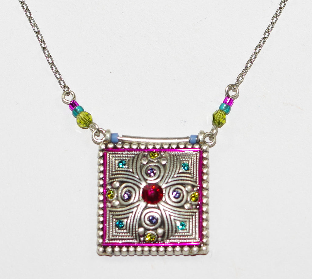 "FIREFLY NECKLACE PILLOW SPIRAL MULTI: blue, fucshia stones in 3/4"" pendant, silver 18"" adjustable chain"
