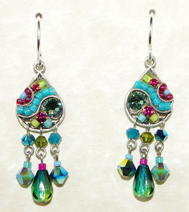 "FIREFLY EARRINGS MOSAIC TEAL: multi color stones in 1.25"" silver setting, wire back"
