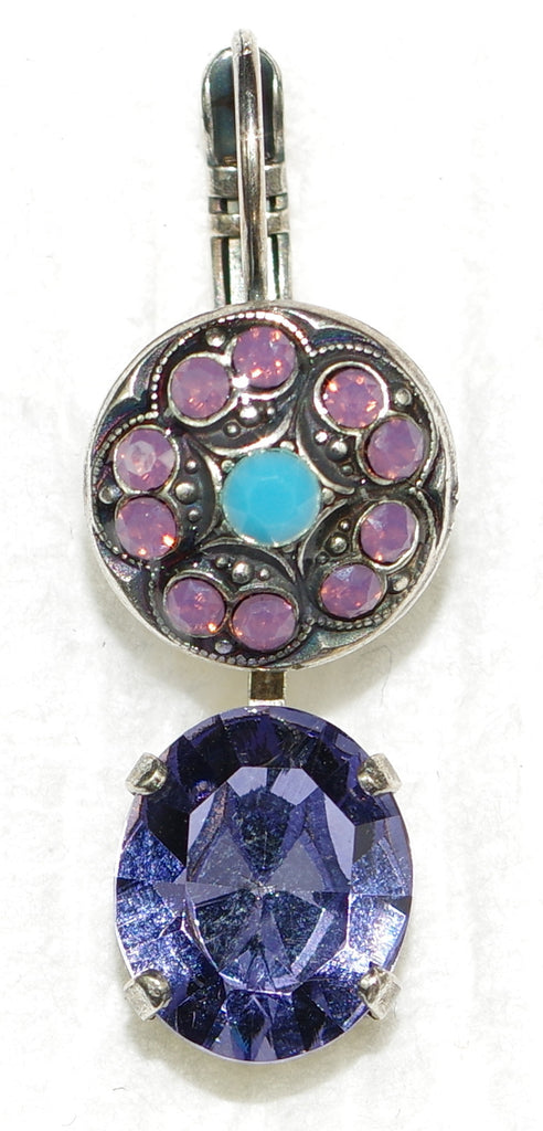 "MARIANA EARRINGS HAPPINESS: lavender, turq, stones in 1"" silver setting, lever back"