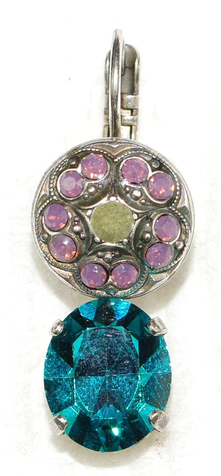 "MARIANA EARRINGS PATIENCE: lavender, teal, grey stones in 1"" silver setting, lever back"