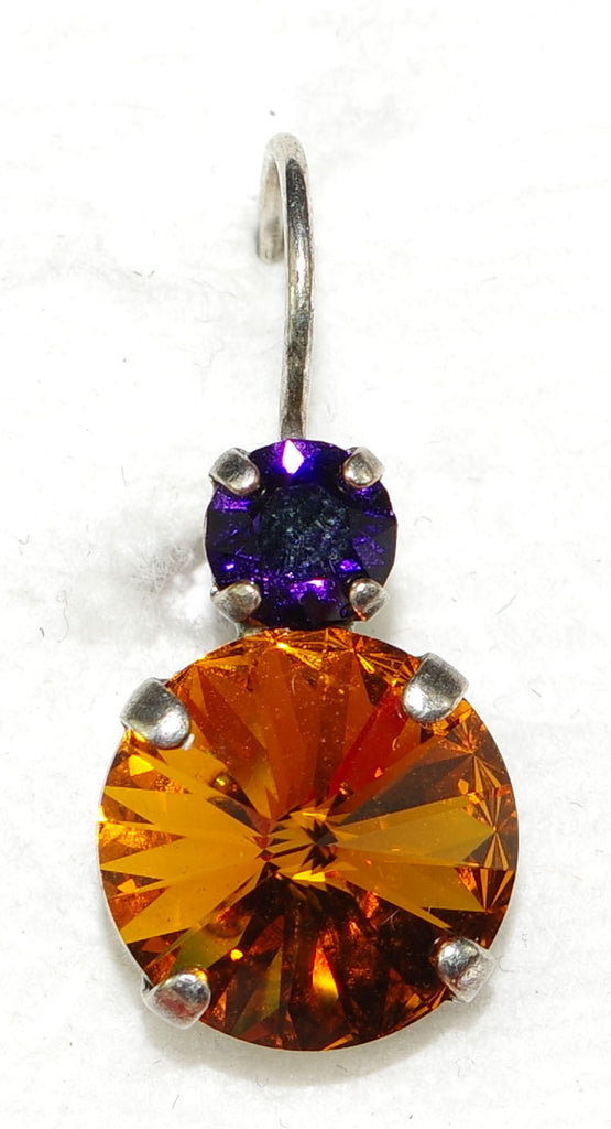 "MARIANA EARRINGS HOPE: purple, amber stones in 1/2"" silver setting, lever back"