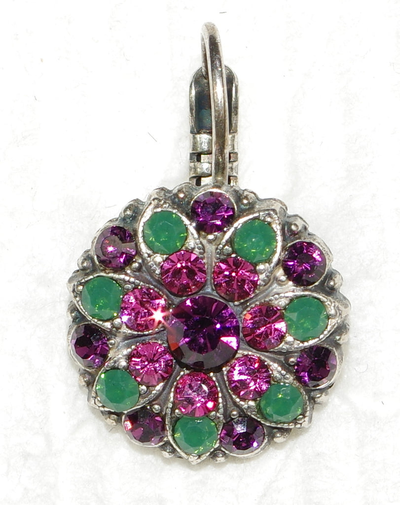 "MARIANA EARRINGS LUCK: green, purple, pink stones in 1/2"" silver setting, lever back"