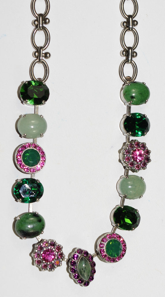 MARIANA NECKLACE LUCK pink, green, lavender stones in silver setting, adjustable chain