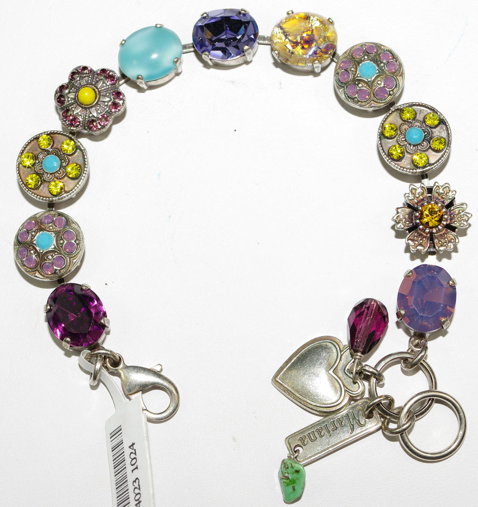 MARIANA BRACELET HAPPINESS: purple, yellow, pink, blue stones in silver setting