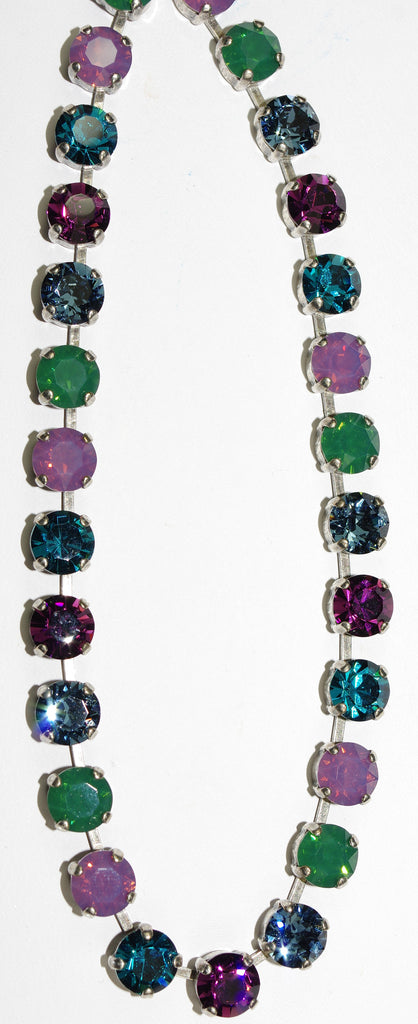 "MARIANA NECKLACE PATIENCE: blue, green, purple, lavender stones in silver setting, 18"" adjustable chain"