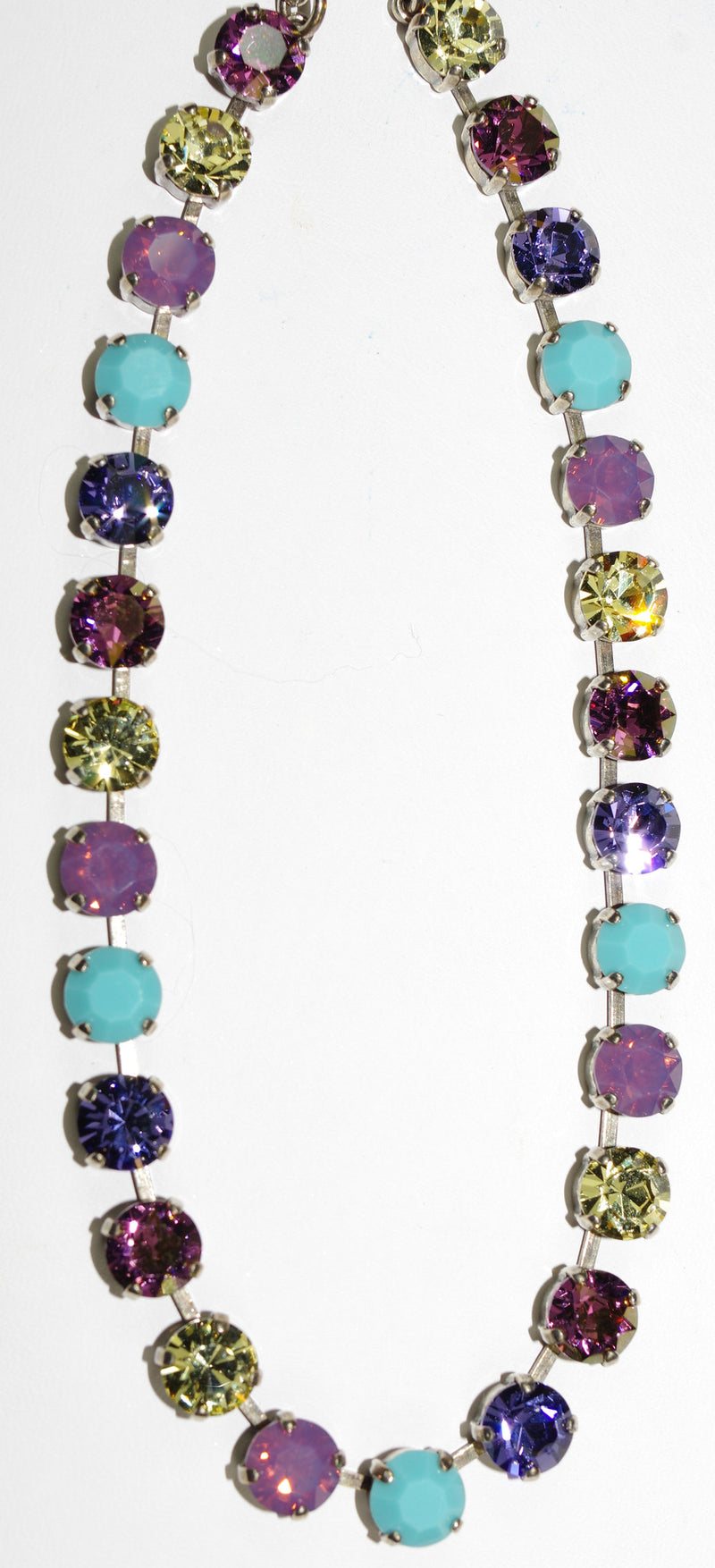 "MARIANA NECKLACE HAPPINESS BETTE: purple, turq, yellow, lavender stones in silver setting, 17"" adjustable chain"