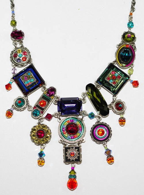 "FIREFLY NECKLACE ELABORATE MULTI: blue, fucshia, purple, green, orange stones in silver 20"" adjustable chain"