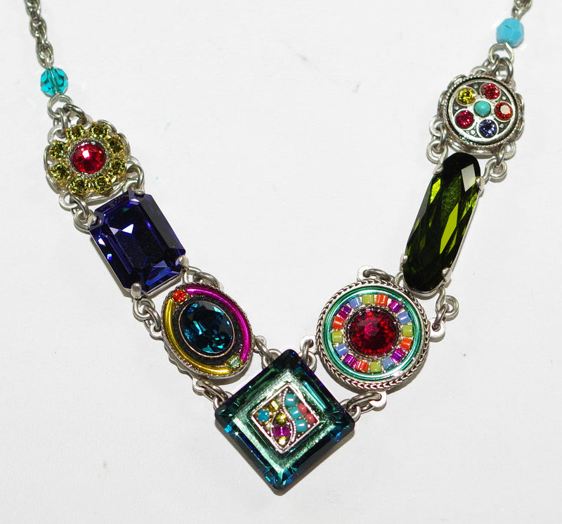 "FIREFLY NECKLACE LA DOLCE VITA MULTI: blue, fucshia, green, red stones in silver setting, 18"" adjustable chain"