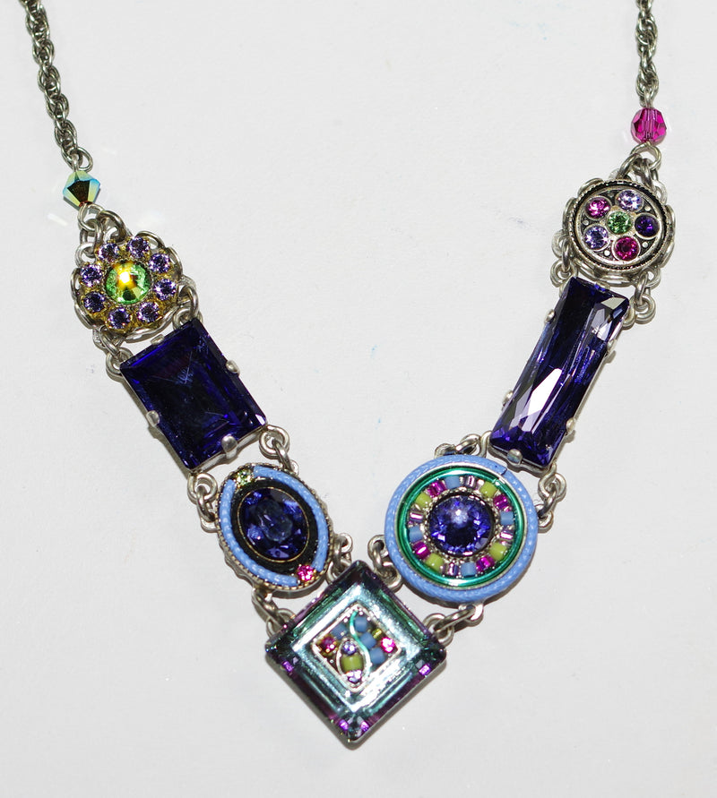 "FIREFLY NECKLACE LA DOLCE VITA TANZANITE: blue, purple, green stones, center stone 1/2"", silver 18"" adjustable chain"