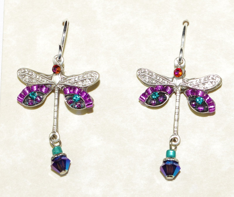 "FIREFLY EARRINGS DRAGONFLY PUR: aqua, purple stones in 3/4"" setting, french wire backs"