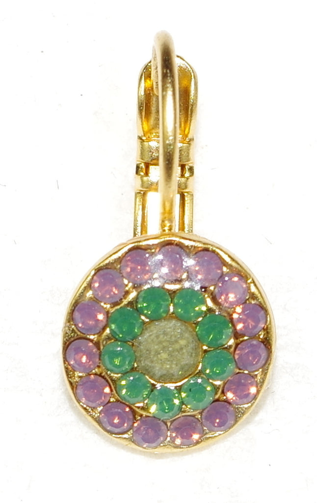 "MARIANA EARRINGS PATIENCE: lavender, teal, grey stones in 3/8"" yellow gold setting, lever back"