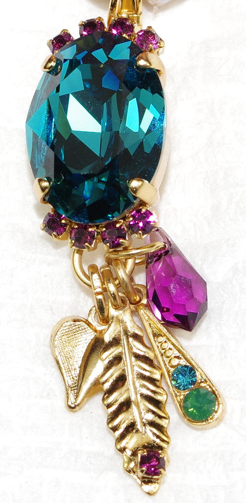 "MARIANA EARRINGS PATIENCE: blue, purple stones in 1.75"" yellow gold setting, lever back"