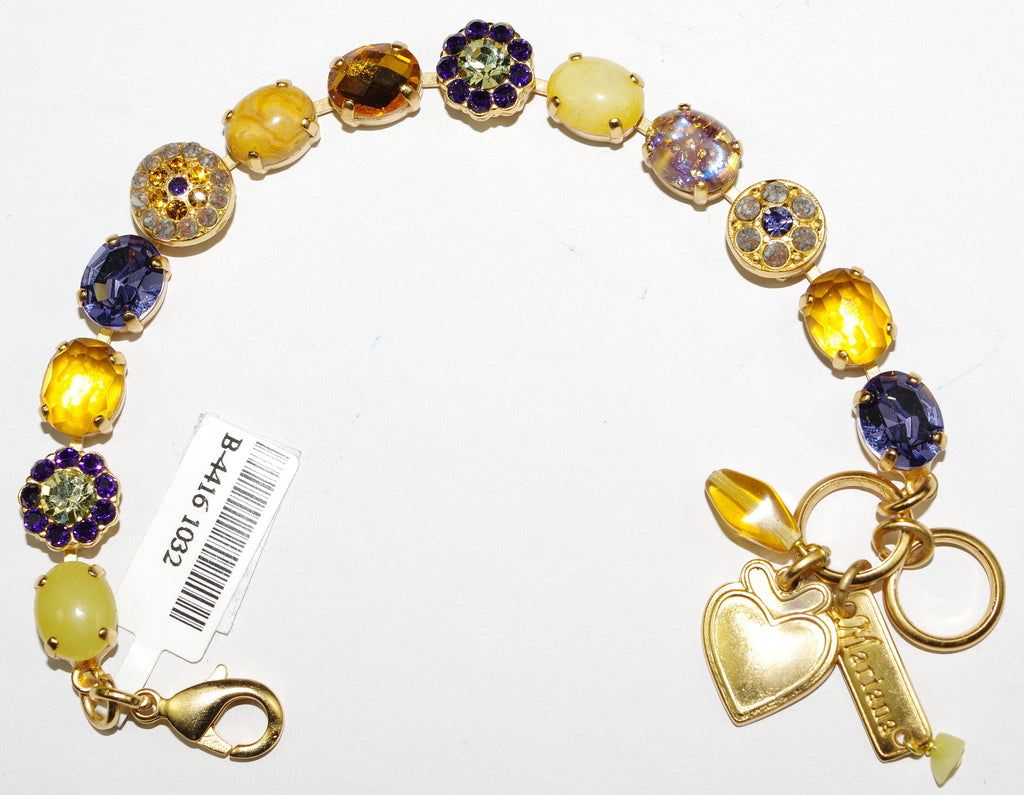 MARIANA BRACELET HOPE: purple, amber, yellow, green stones in yellow gold setting