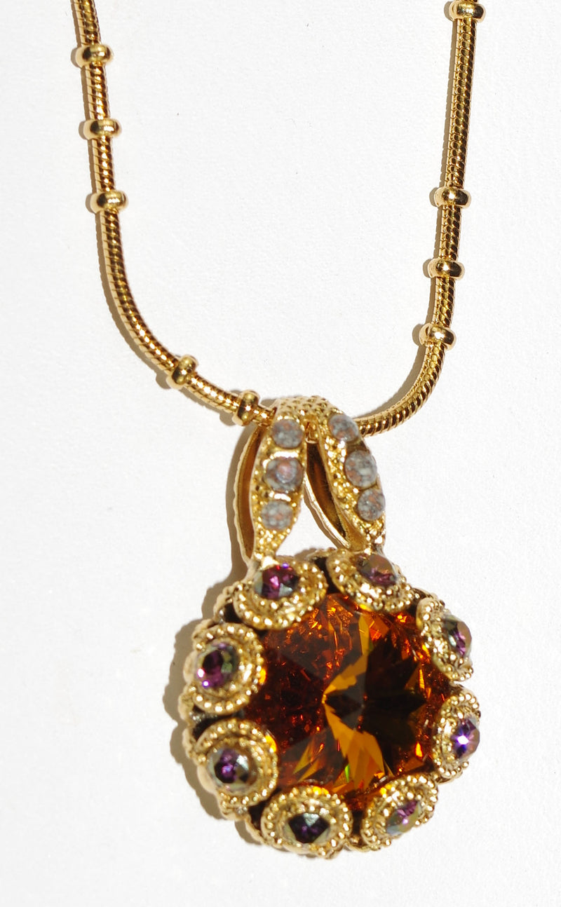 "MARIANA PENDANT HOPE: amber, pink, green stones in yellow gold setting, 18"" adjustable chain"