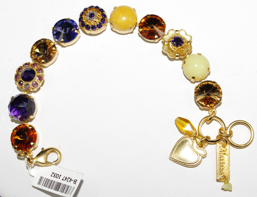 MARIANA BRACELET HOPE: amber, purple, green stones in yellow gold setting
