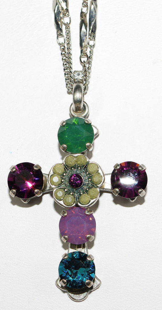 "MARIANA CROSS PENDANT PATIENCE: teal, purple, grey, green stones in silver setting, 20"" adjustable chain"