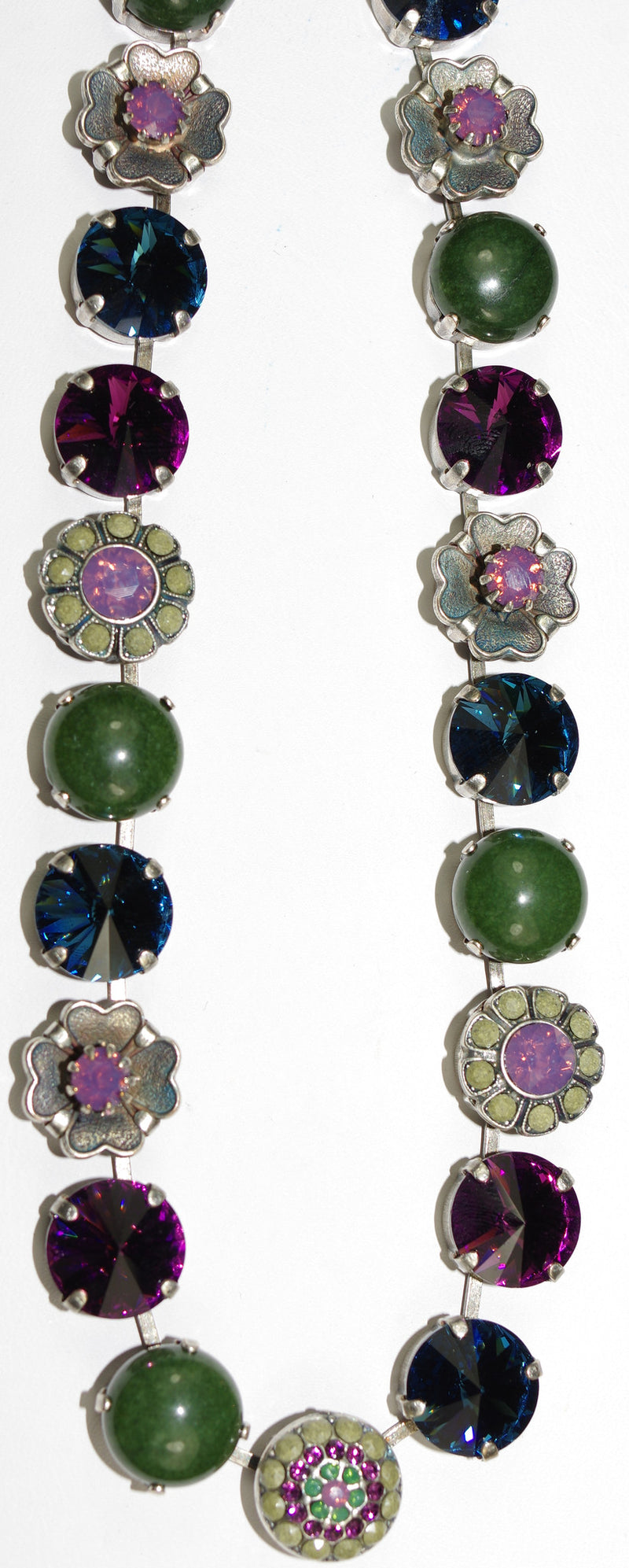 "MARIANA NECKLACE PATIENCE: purple, green, blue, grey stones in silver setting, 18"" adjustable chain"