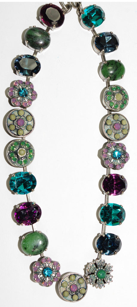 "MARIANA NECKLACE PATIENCE: teal, purple, grey, green stones in silver setting, 18"" adjustable chain"